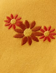 Girls Embroidered Sunflower Ruffle Top - Harvest