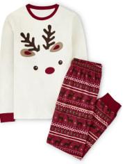 Unisex Adult Reindeer Fairisle Cotton 2-Piece Pajamas - Gymmies
