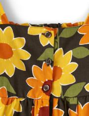 Girls Sunflower Ruffle Dress - Harvest