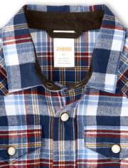 Boys Plaid Button Up Shirt - Western Skies