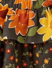 Girls Sunflower Tiered Skort - Harvest