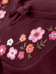 Girls Embroidered Floral Tie Top - Tree House