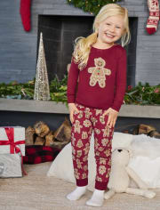 Girls Gingerbread Cotton 2-Piece Pajamas - Gymmies
