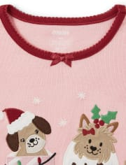 Girls Christmas Puppy Cotton 2-Piece Pajamas - Gymmies