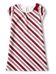 Girls Striped Ponte Dress - Ho Ho Ho