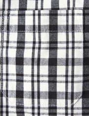 Boys Plaid Button Up Shirt - Reindeer Cheer