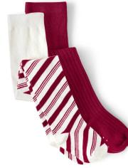 Girls Striped Tights 2-Pack - Ho Ho Ho