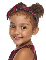Girls Plaid Bow Headband - Family Celebrations Red