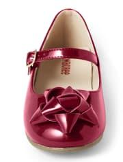 Girls Present Bow Ballet Flats - Ho Ho Ho