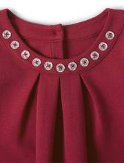 Girls Jeweled Ponte Dress - Family Celebrations Red