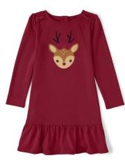Girls Embroidered Reindeer Peplum Dress - Ho Ho Ho