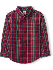 Boys Plaid Button Up Shirt - Family Celebrations Red