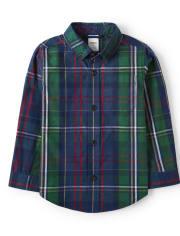 Boys Plaid Button Up Shirt - Family Celebrations Green
