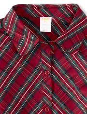 Womens Plaid Shirt Dress - Family Celebrations Red