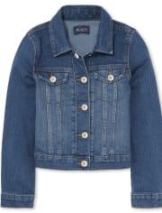 White The Childrens Place Girls Denim Jacket 5//6 S