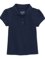 Toddler Girls Uniform Ruffle Pique Polo