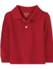 Baby And Toddler Boys Uniform Long Sleeve Pique Polo
