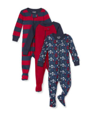 Baby And Toddler Boys Mom Snug Fit Cotton One Piece Pajamas 3-Pack