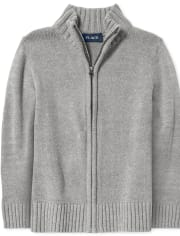 Boys Uniform Zip Up Mock Neck Sweater
