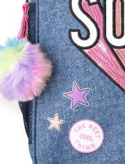 Girls Embellished 'Hashtag Girl Squad' Denim Backpack