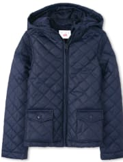 Girls Uniform Quilted Puffer Jacket