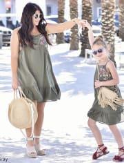 Girls Mommy And Me Sleeveless Embroidered Yoke Ruffle Hem Woven Matching Dress