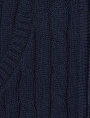 Girls Uniform Cable Knit Zip Up Cardigan