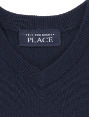 Chaleco de suéter con cuello en V uniforme para niños pequeños