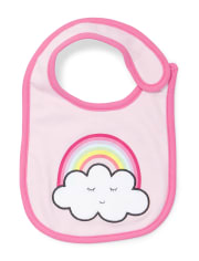Baby Girls Rainbow Striped Sleep And Play Bib 2-Piece Set