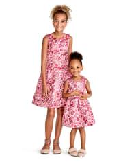 Toddler Girls Sleeveless Pink Metallic Woven Jacquard Dress