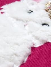 Girls Faux Fur Animal Sweatshirt