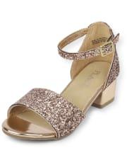 rose gold glitter sandal heels