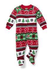 Unisex Baby And Toddler Matching Family Fair Isle Fleece One Piece Pajamas