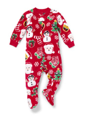 Unisex Baby And Toddler Matching Family Christmas Emoji Fleece One Piece Pajamas