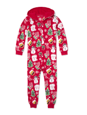 Unisex Kids Matching Family Long Sleeve Christmas Emoji Fleece Hooded One Piece Pajamas