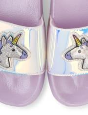 Girls Holographic Unicorn Slides