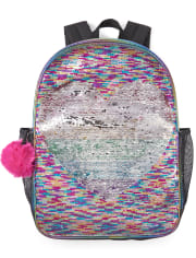 Girls Flip Sequin Rainbow Heart Backpack