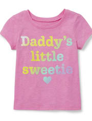 Baby And Toddler Girls Glitter Daddy's Sweetie Graphic Tee