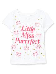 Baby And Toddler Girls Glitter Caticorn Graphic Tee