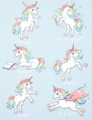 Girls Glitter Unicorn Pwr Graphic Tee