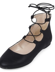 Girls Lace Up Faux Leather Ballet Flats