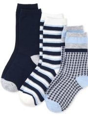 Boys Uniform Houndstooth Crew Socks 3-Pack