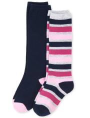 Girls Uniform Striped Knee Socks 2-Pack