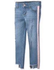 Girls Side Stripe Step Hem Distressed Denim Jeans