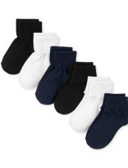 Girls Uniform Ruffle Turn Cuff Socks 6-Pack