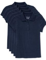 Paquete de 5 camisetas polo de uniforme de piqué para niña