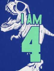 Boys 4 Dino Birthday Graphic Tee