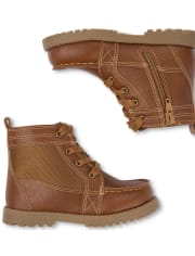 Toddler Boys Faux Leather Lace Up Boots