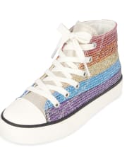 Girls Glitter Rainbow Striped Hi Top Sneakers