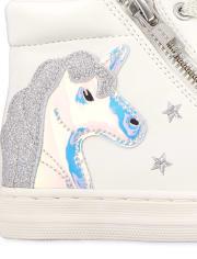 Girls Glitter Unicorn Hi Top Sneakers